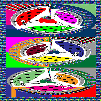 Mixed Media - Circular Abstract Art Casino Lucky Dice Game Show by Navin Joshi