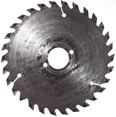 Circular Saw Blade Photograph - Circular Saw Blade Isolated On White by Handmade Pictures