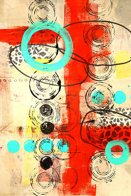 Mixed Media - Circus Abstract Mixed Media Collage by Nancy Merkle