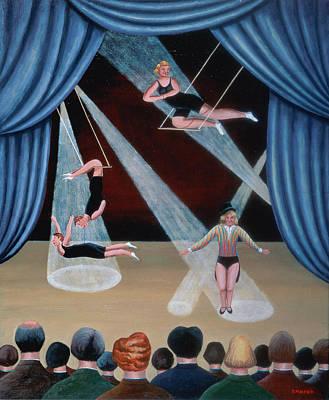 Circus Acrobats Art Print by Jerzy Marek