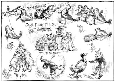 Funny Dog Drawing - Circus Animals, 1888 by Granger