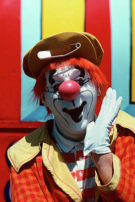 Pattern Photograph - Circus Clown Looking At Camera by Vintage Images