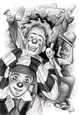Swirly Drawing - Circus Clowns by Kit Clock