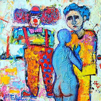 Blue And Red Painting - Circus Confidential  by Ana Maria Edulescu