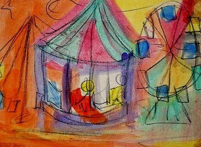 Merry-go-round Drawing - Circus by Erika Chamberlin