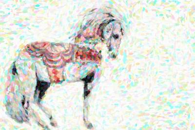 Pointilism Photograph - Circus Horse by Tommytechno Sweden