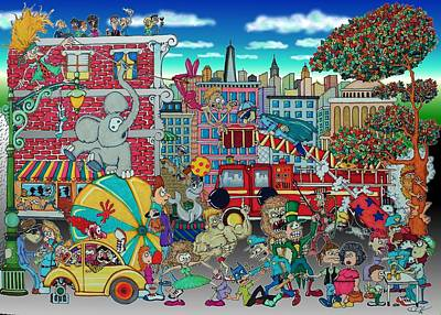 Drawing - Circus In The City by Paul Calabrese