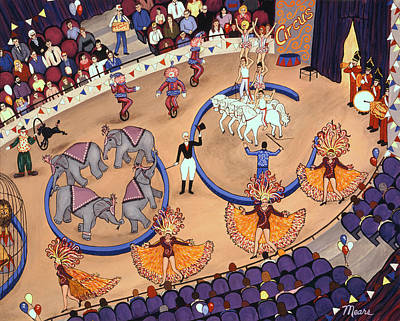 Folk Art Painting - Circus Ladies by Linda Mears