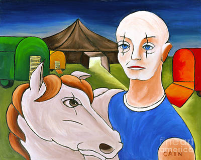 Circus Man And Horse Art Print by William Cain