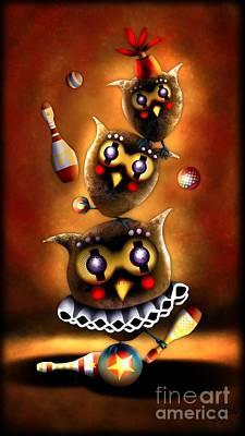 Digital Art - Circus Owls by J Kinion