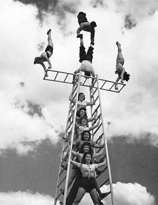 1946 Photograph - Circus Performers Practice by Underwood Archives