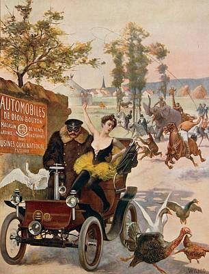 Swan Drawing - Circus Star Kidnapped Wilhio S Poster For De Dion Bouton Cars by Anonymous