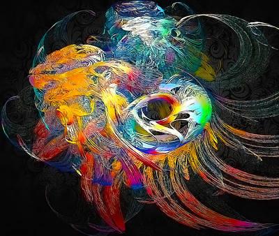Fractal Digital Art - Circus Swirls by Betsy Jones
