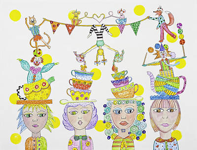 Tea Party Mixed Media - Circus Tea Party by Lynn Colwell