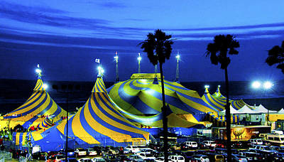 Photograph - Circus Tent Swirls Of Blue Yellow Original Fine Art Photography Print  by Jerry Cowart