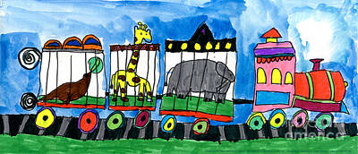 Painting - Circus Train by Max Kaderabek Age Eight