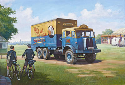 Vintage Circus Painting - Circus Truck by Mike  Jeffries