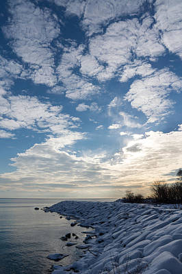 Photograph - Cirrocumulus Clouds And Sunshine - Lake Ontario Toronto Canada by Georgia Mizuleva