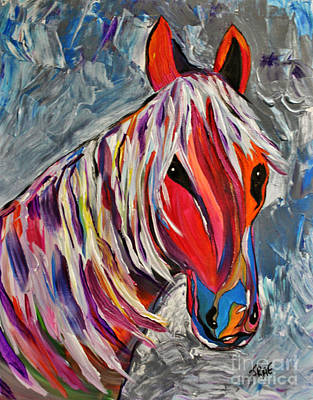 Sports Paintings - Cisco Abstract Horse  by Janice Pariza