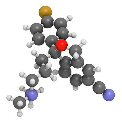 Citalopram Anti-depressant Drug Molecule Art Print