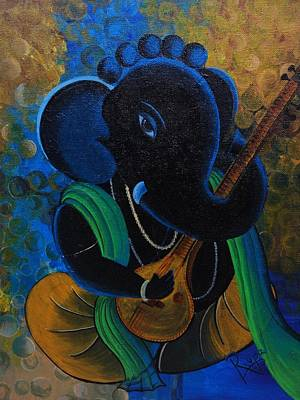 Indian Musical Instrument Painting - Citar Ganesha by Rupa Prakash