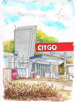 Service Station Painting - Citgo Service Station In Elm St - Mchenry - Il by Carlos G Groppa