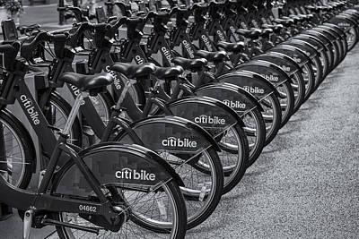 Citi Bikes Bw Art Print by Susan Candelario