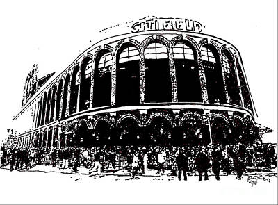 Citi Field Drawing - Citi Field - New York Mets by Rob Monte