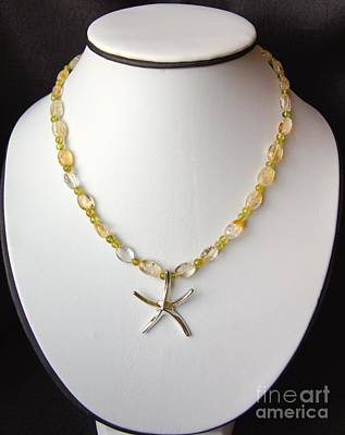 Tropical Wall Art - Jewelry - Citrine And Peridot Starfish Necklace by Megan Cohen