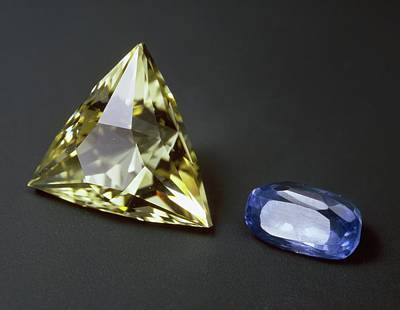 Sapphire Wall Art - Photograph - Citrine And Sapphire Gemstones by Natural History Museum, London/science Photo Library