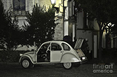 Cobblestone Streets Digital Art - Citroen At Night by Mary Machare