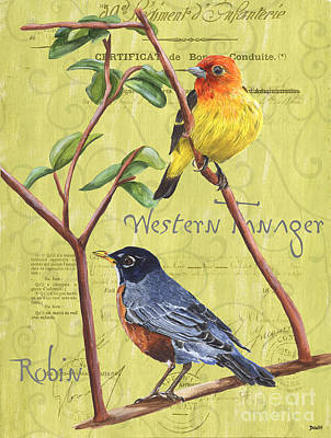 Robin Painting - Citron Songbirds 2 by Debbie DeWitt