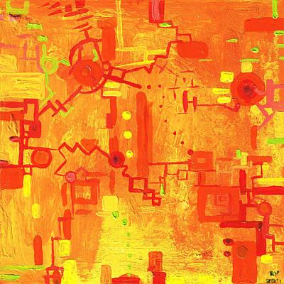 Painting - Citrus Circuitry by Regina Valluzzi