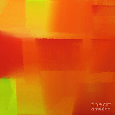 Orange Digital Art - Citrus Connections Abstract Square 1 by Andee Design