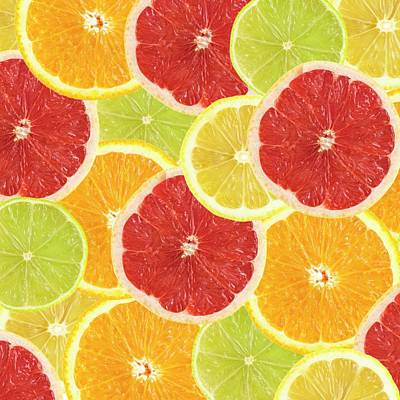 Grapefruit Photograph - Citrus Fruit Slices by Science Photo Library