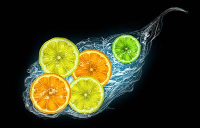 Citrus Fruits On A Black Background Art Print