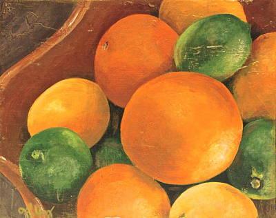 Citrus Pearls 3 Art Print by Joy Petty