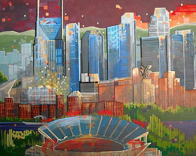Nashville Skyline Painting - City 47 Music City by Carol Joy Shannon