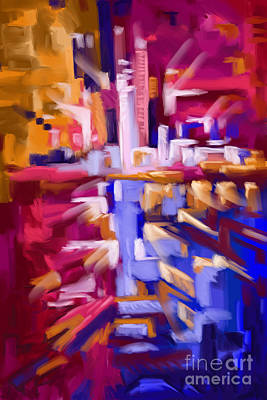 Painting - City Abstract Contemporary010 by Tim Gilliland