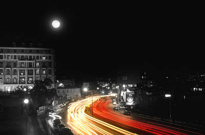 Moonlit Night Photograph - City And The Moon by Taylan Apukovska