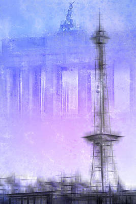 Watch Tower Photograph - City-art Berlin Radio Tower And Brandenburg Gate Blue/pink by Melanie Viola