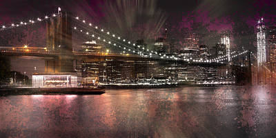 Abstract Sights Digital Art - City-art Brooklyn Bridge by Melanie Viola