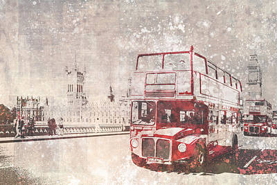London Digital Art - City-art London Red Buses II by Melanie Viola