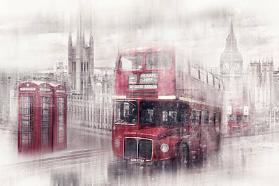 Bus Photograph - City-art London Westminster Collage II by Melanie Viola