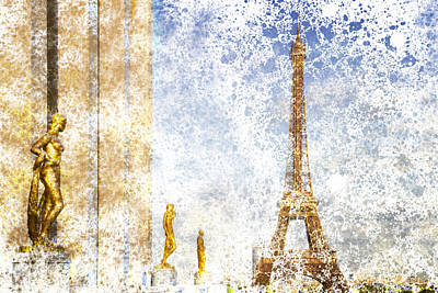 Abstract Sights Digital Art - City-art Paris Eiffel Tower by Melanie Viola