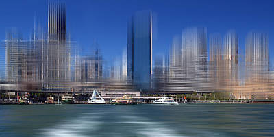 Ferry Digital Art - City-art Sydney Circular Quay by Melanie Viola