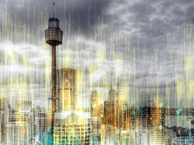 City-art Sydney Rainfall Art Print