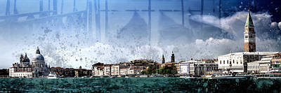 Ferry Digital Art - City-art Venice Panoramic by Melanie Viola