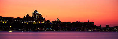 Chateau Photograph - City At Dusk, Chateau Frontenac Hotel by Panoramic Images