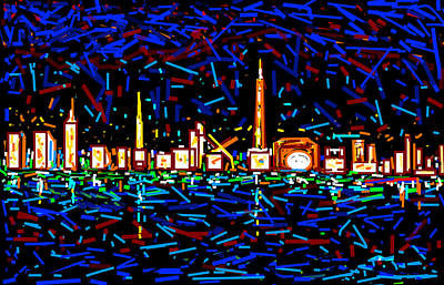 Life Study . Ganesha Digital Art - City At Night-2 by Anand Swaroop Manchiraju